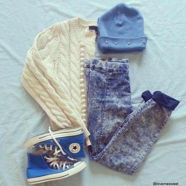 jeans sweater beanie converse blue hat shoes