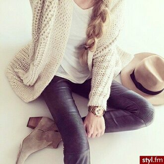 sweater top knitwear sweater knitwear nude sweater nude watch gold watch pants leggings leather leggings boots brown boots high boots t-shirt white top white t-shirt hat brown hat fishtail braid shoes