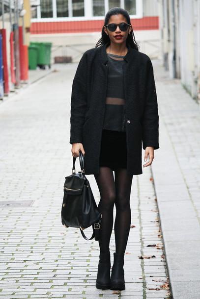 babes in velvet blogger top black coat leather backpack black skirt bag skirt shirt coat shoes