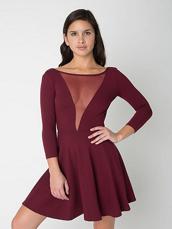 Ponte Gloria-V Skater Dress | American Apparel