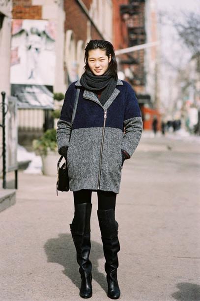 vanessa jackman blogger winter coat thigh high boots coat jeans jacket shoes