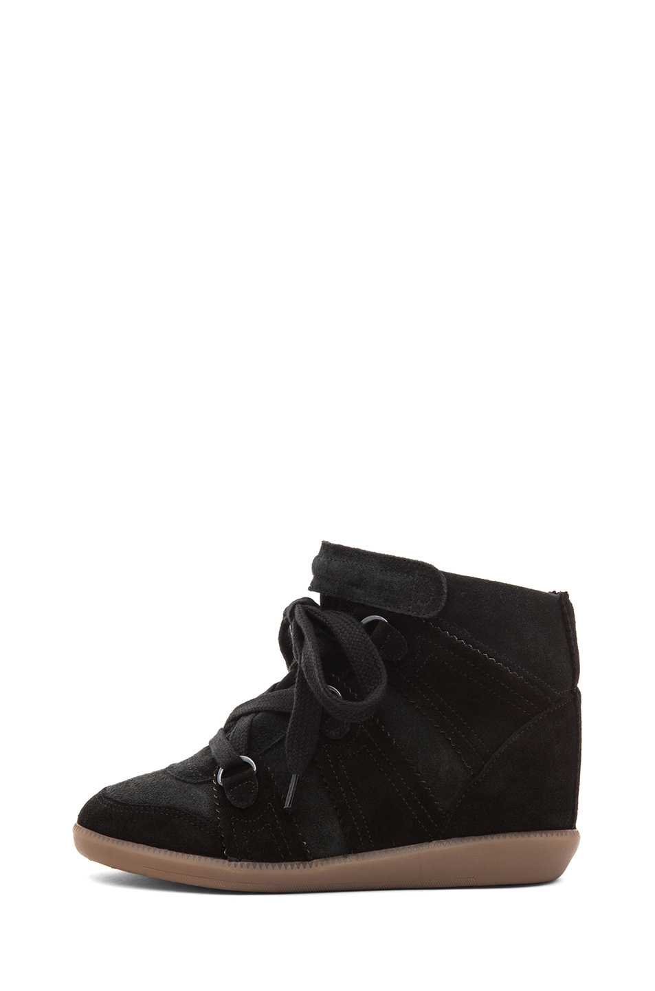 Isabel Marant|Bluebel Calfskin Velvet Leather Sneaker in Faded Black