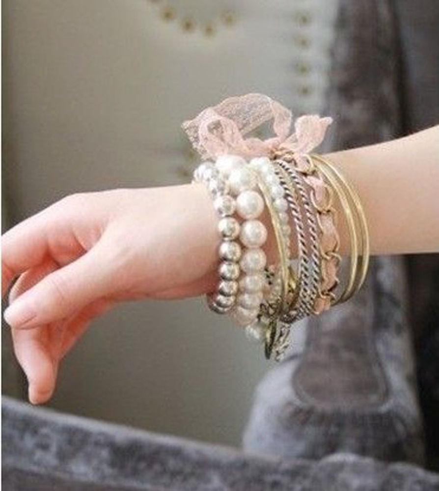 Hot Boho Bohemia Multilayer Pearl White Beaded Women Bracelet Bangle 10pcs Set | eBay