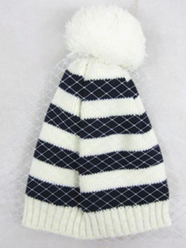 New Look Stripe Beanie With Mesh | Choies