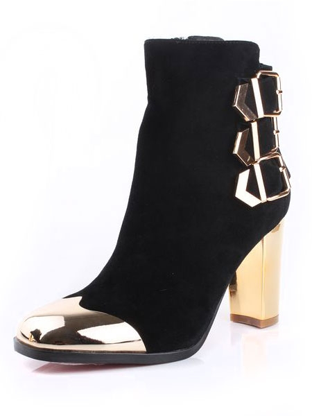 Buckled Ankle Boots with Metal Toe Cap   Choies