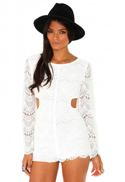 Racquel Long Sleeve Cut Out Lace Playsuit - playsuit - missguided