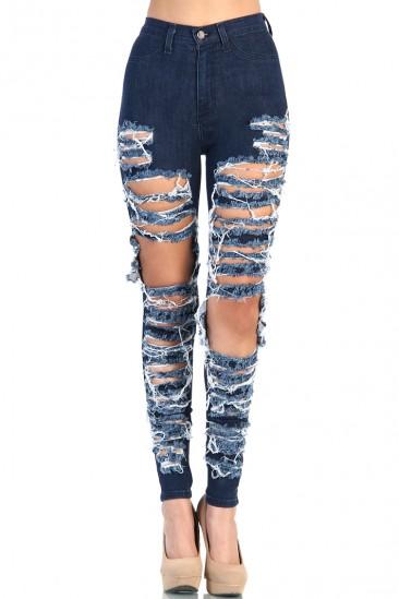 OMG Destroyed High Waist Jean - Blue