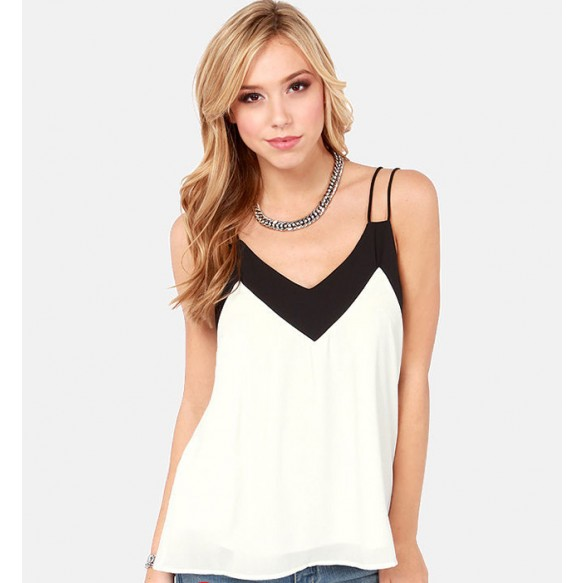 Double Strap Chiffon Camisole Top With Contrast Panel at Style Moi
