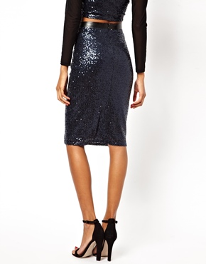 Lipsy | Lipsy Sequin Pencil Skirt with PU Waistband at ASOS