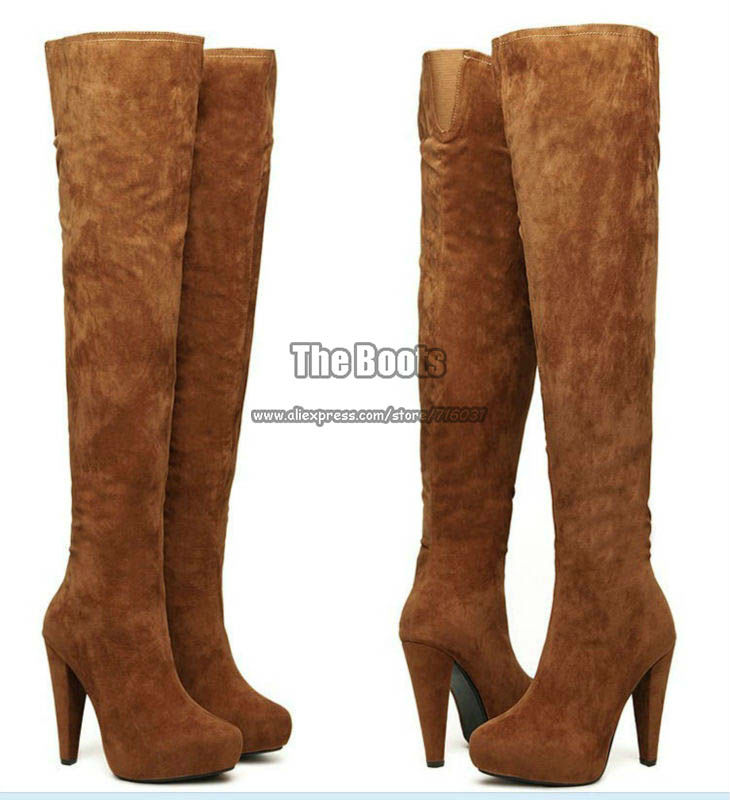 Plus Sizes Black Brown Suede Ladies Long Leg Zipper Platform Thigh High Heel Over The Knee Boots For Women Size 9 10 40 41-in Boots from Shoes on Aliexpress.com