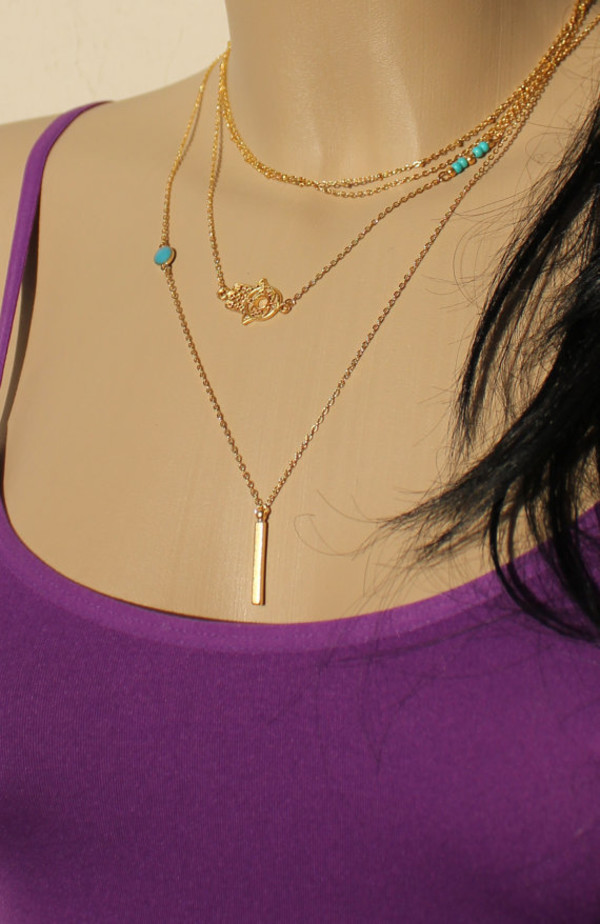 jewels necklace layering necklace bar necklace necklace set sexy necklace set of necklace hamsa hamsa necklace blue necklace turquoise necklace bead necklace hand of fatima anarchy street