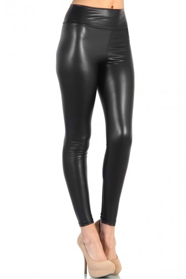 LoveMelrose.com From Harry & Molly | High Waist Leather Pants - Black