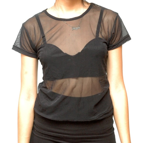 t-shirt sheer mesh black bra bralette all black everything sheer top top crop tops sheer shirt black top see through transparent