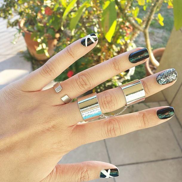 jewels silver ring silver ring silver jewelry ring silver ring chain link band ring silver band silver band ring chain ring silver chain double ring
