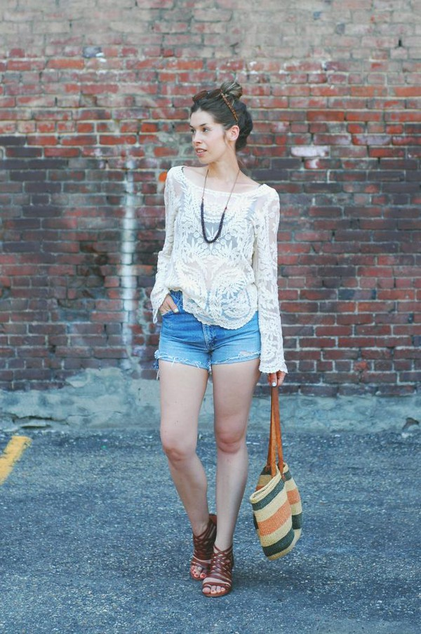 orchid grey top shorts shoes bag sunglasses jewels