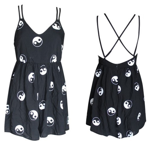 Free Shipping  2014 SPRING AND SUMMER  Taiji yinyang printing  ROMPERS  playsuits FT234-in Jumpsuits & Rompers from Apparel & Accessories on Aliexpress.com