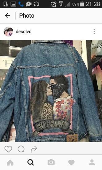 jacket jacket denim denim jacket denim jeans veste veste en jean dessin drawing robbers robbers jackets old vintage