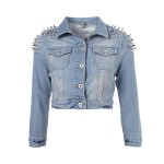 Washed Denim Jacket with Spiked Shoulders in Cropped Length