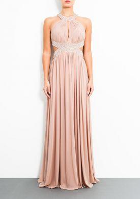 ISSY - Beige Mesh Maxi Dress