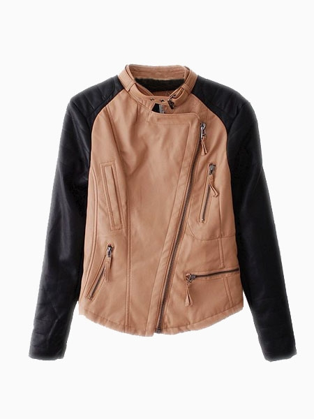 Leather Biker Jacket With Contrast Color | Choies