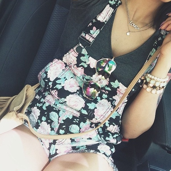 romper overalls flowers floral floveralls shorts overalls cute trendy summer