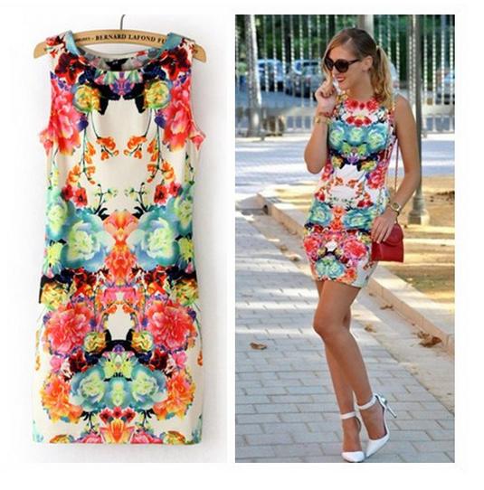 2014 summer dress o neck women's angelababy vintage printslim cotton short design sleeveless one piece dress mini dress sundress-in Dresses from Apparel & Accessories on Aliexpress.com
