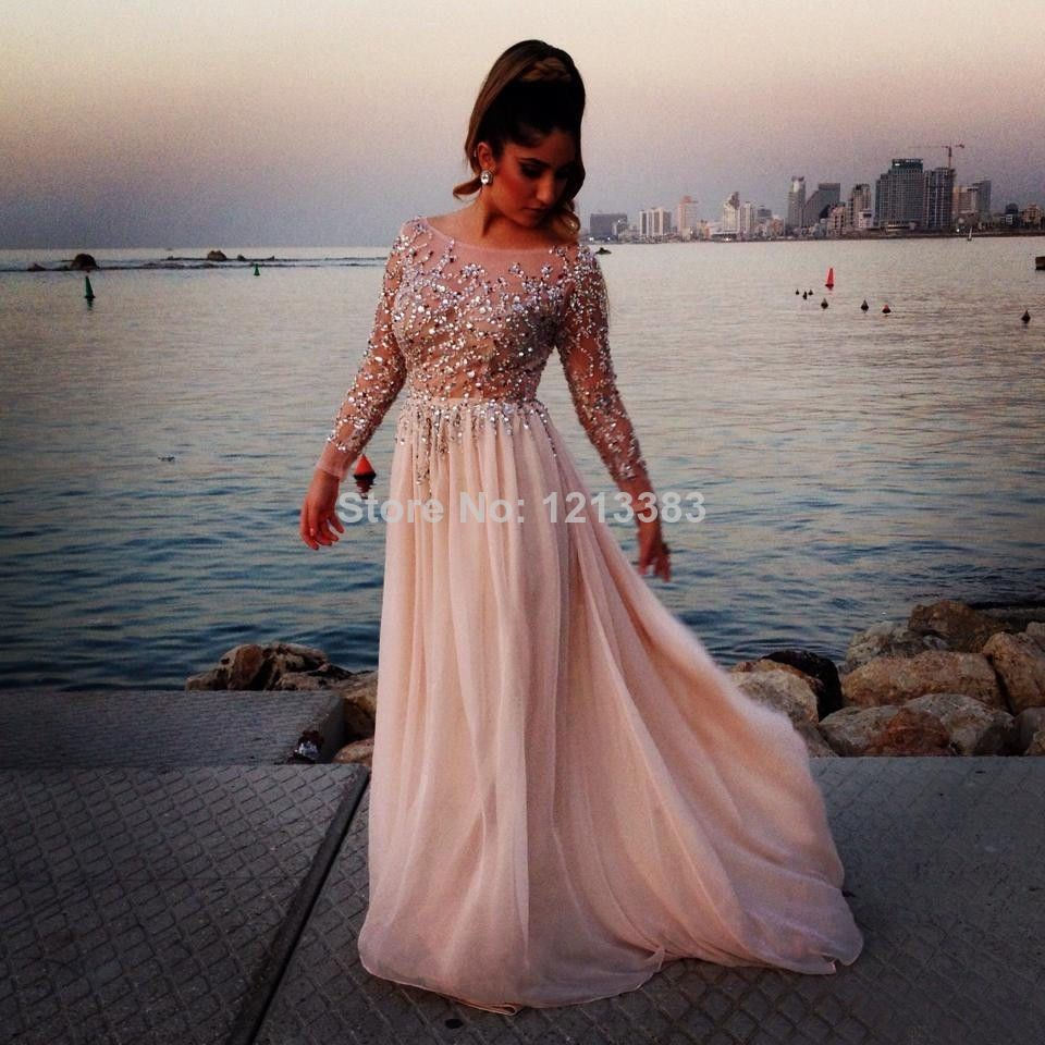 Aliexpress.com : Buy Scoop Neckline Pink Long Chiffon Prom Dresses Shine Sequin Pageant Gowns Long Sleeve Elie Saab Evening Dresses 2014 from Reliable dresses sundress suppliers on Clover Dresses