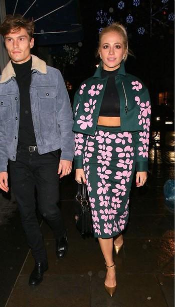 floral pixie lott bomber jacket high waisted skirt