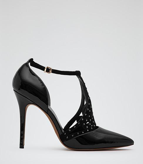 Christie Black Embellished Lattice Front Court Shoes - REISS