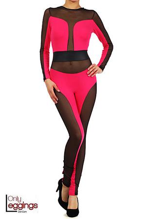 Exquisita Cotton Mesh Jumpsuit | OnlyLeggings.com - Leggings Superstore