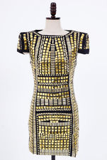 Glitter Metallic Gold Silver Studded Bodycon Mini Dress Glam Club Dresses s M | eBay