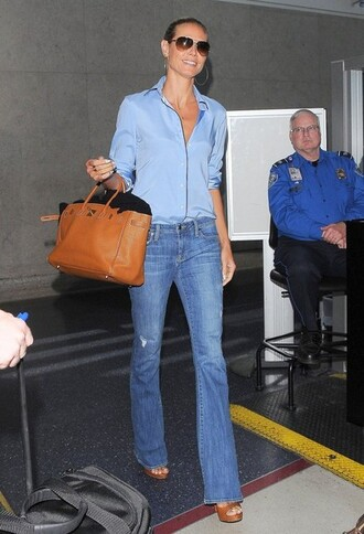 jeans heidi klum top shirt bag shoes
