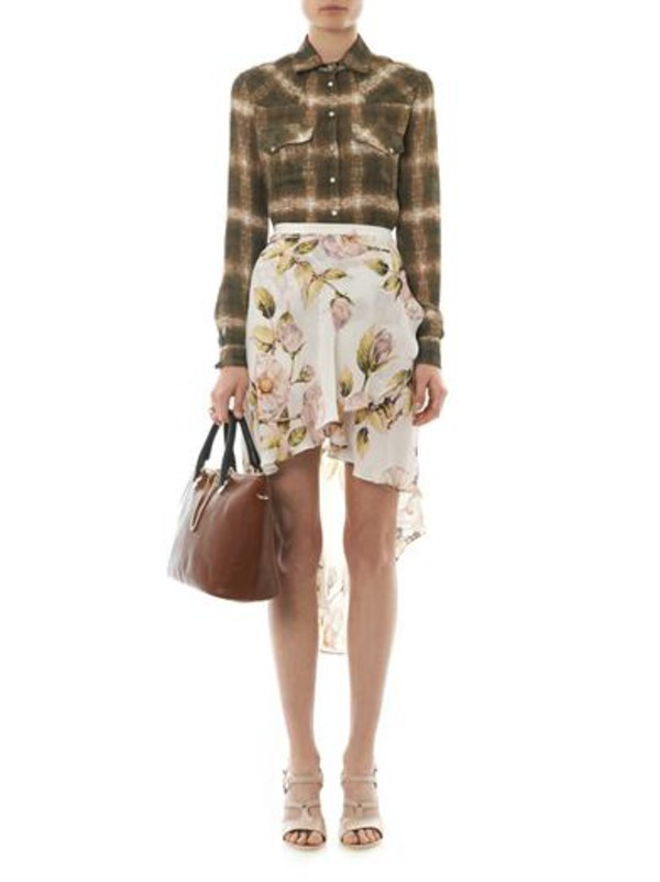 skirt thorn floral-print asymmetric skirt haute hippie ghostly plaid-print silk shirt baylee bi-colour leather tote chloe shirt bag