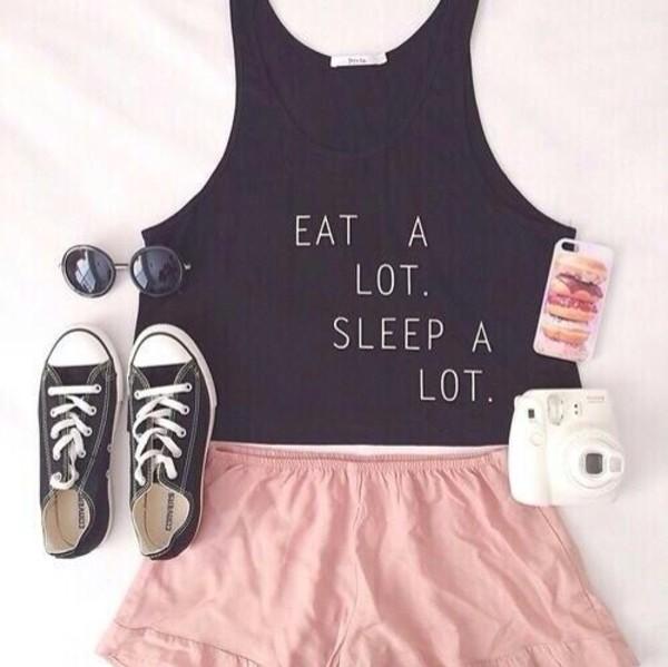 blouse eat a lot sleep a lot shirt crop tops converse pink shorts top