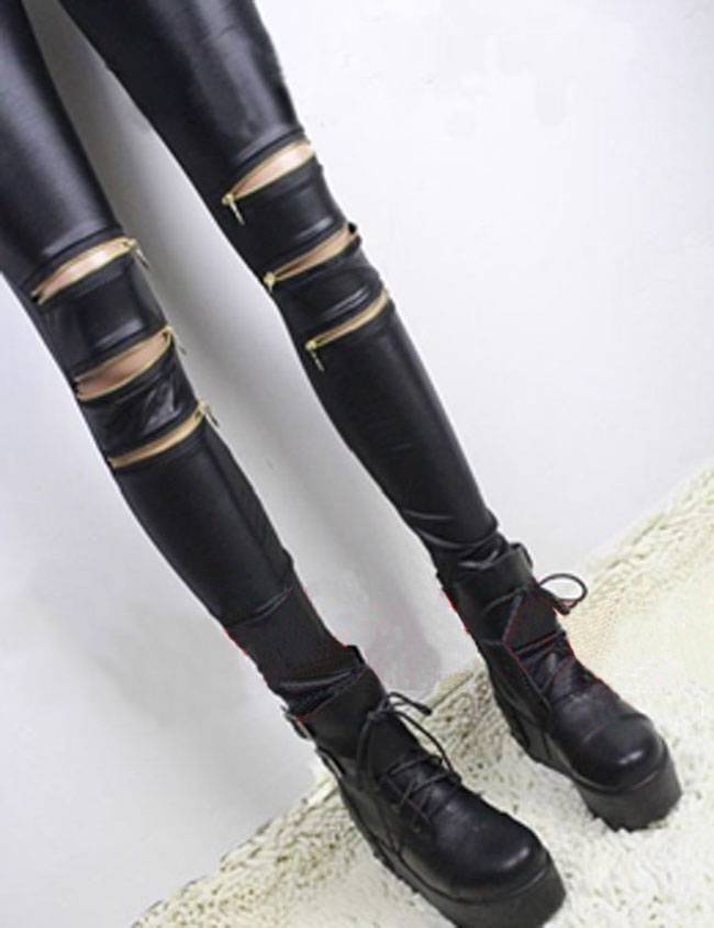 Punk Style Tight Package Hip Matte Leather Knee Zipper Leggings Nine Points | eBay