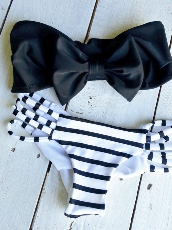 swimwear black bow bandeau bikini white swimwear