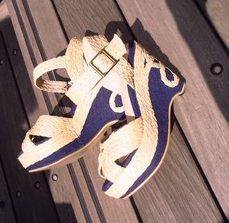 shoes blue and white decoration sandal wedge sandals woven sandal