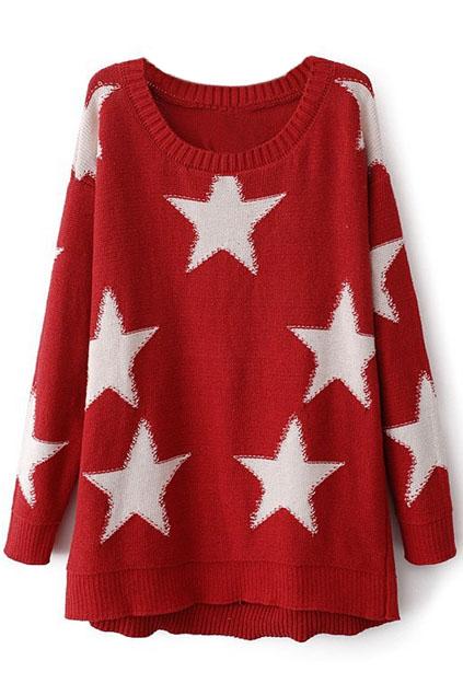 ROMWE | Stars Print Knited Red Jumper, The Latest Street Fashion