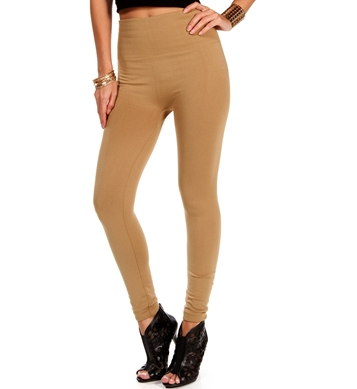 Tan High Waisted Knit Leggings