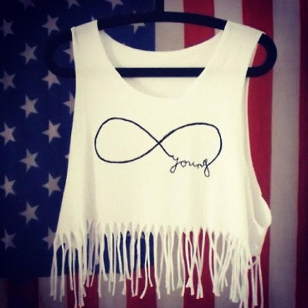 shirt cute fringes infinity top