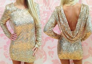 """Morgan"" Gold Full Sequin Backless Drape Cowl Sparkly Bodycon Dress Sizes 6-14 | eBay"