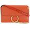 Chloé small faye crossbody bag, women's, yellow/orange, goat skin/suede/metal