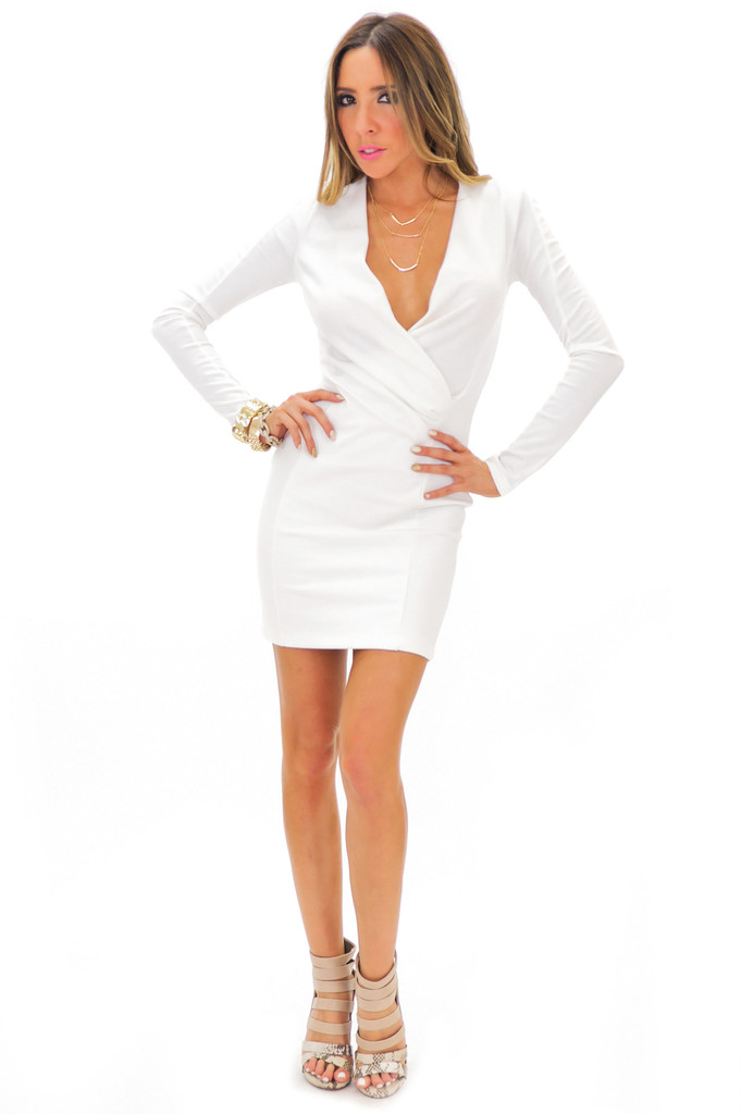 FRANCI DEEP-V BODYCON DRESS - White | Haute & Rebellious