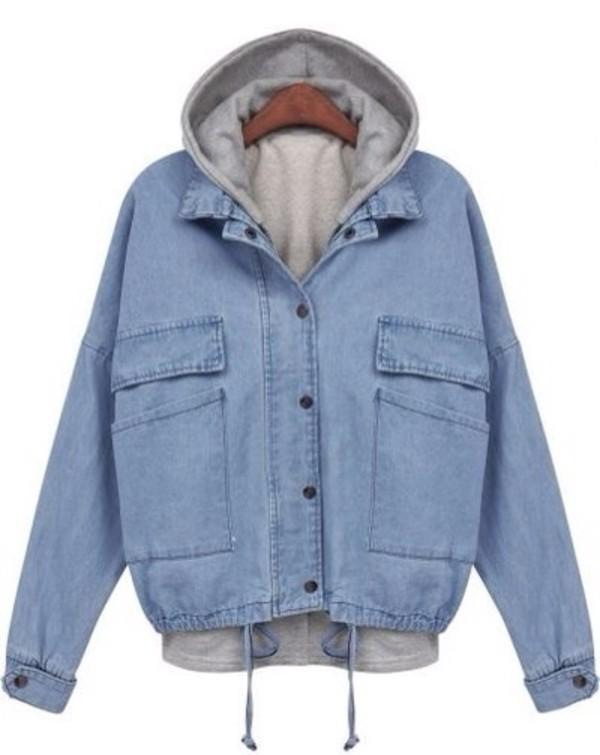 jacket blue jean jacket hoodie jeans denim blue outfit style ootd denim jacket acid wash denim jacket hooded jeanjacket hooded jacket grunge hipster pretty 80s style 90s style love vintage retro cute old school coat