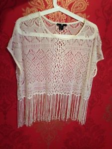 H and M White Lace Crochet Fringe Crop Top XS Worn Once | eBay