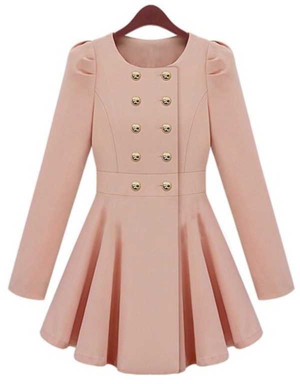 coat pink long sleeves slim trench coat pink trench coat militar
