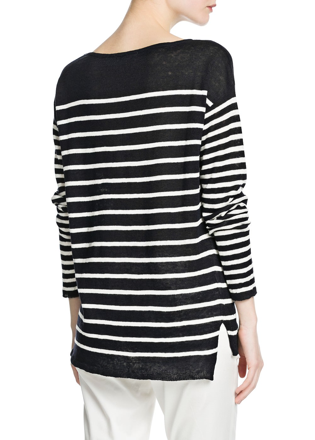 Striped linen sweater -  Cardigans and sweaters - Women - MANGO