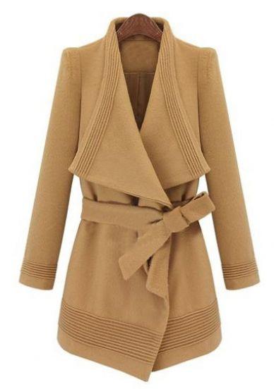 Camel Long Sleeve Drawstring Waist Asymmetrical Coat - Sheinside.com