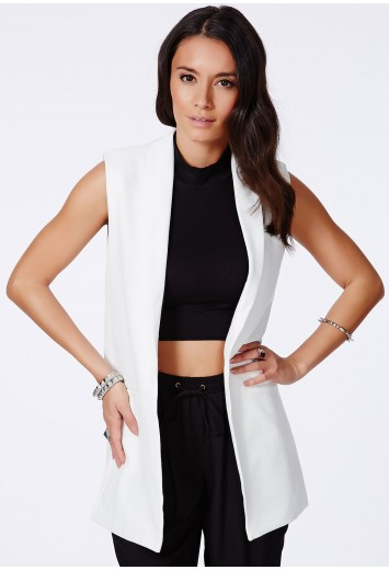 Tolipa Sleeveless Longline Blazer - Coats & Jackets - Blazers - Missguided