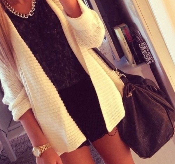 sweater white cardigan lovely weheartit fashion clothes fashionista girl blonde hair black jacket